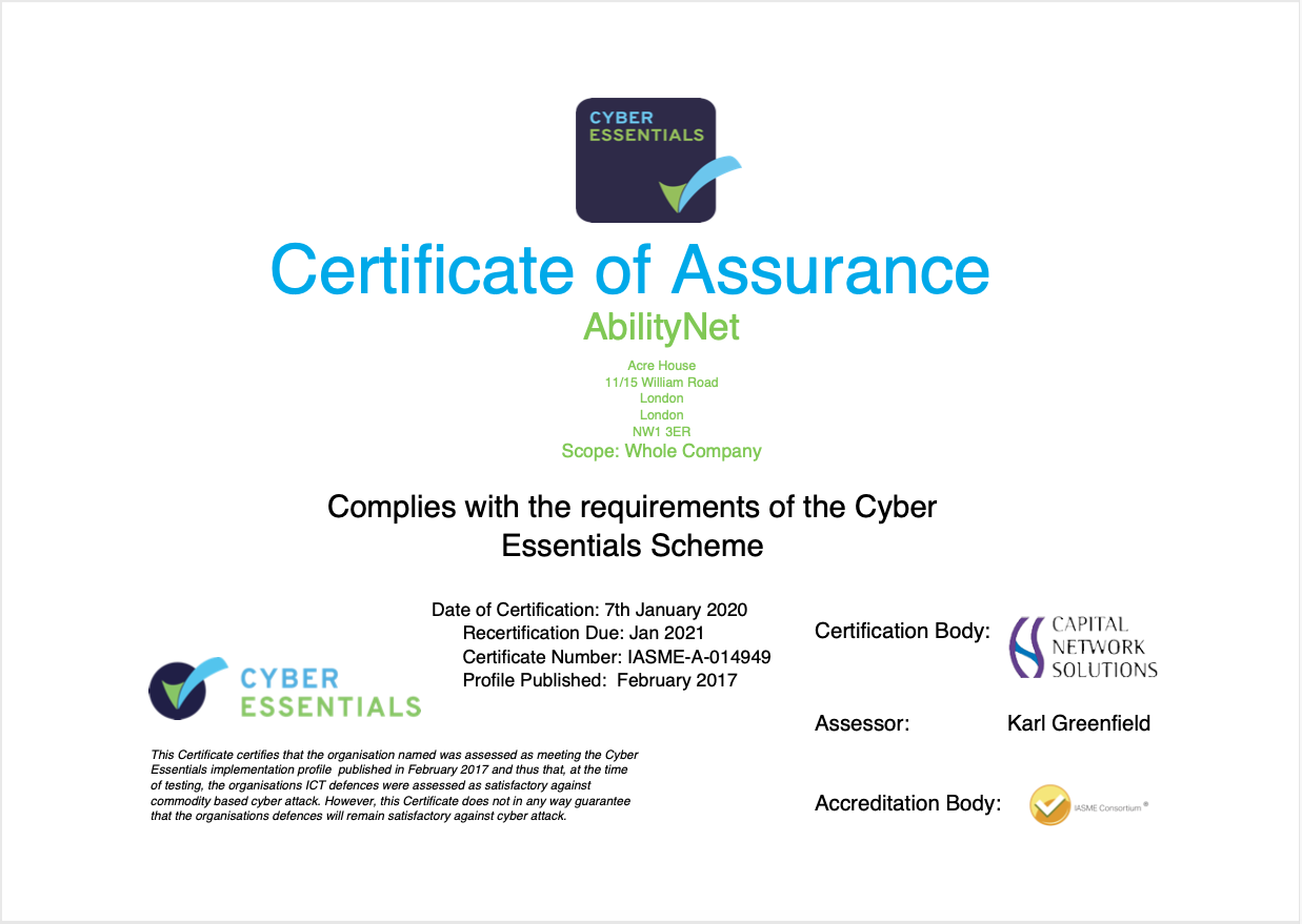 AbilityNet Cyber Essentials - Certificate of Assurance - the text on this certificate is detailed in the body of this page