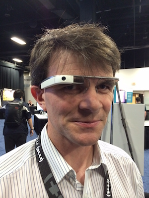 Robin is shown wearing a Google Glass heasdset
