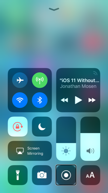 screen shot from Robin's iPhone showing the new style control centre